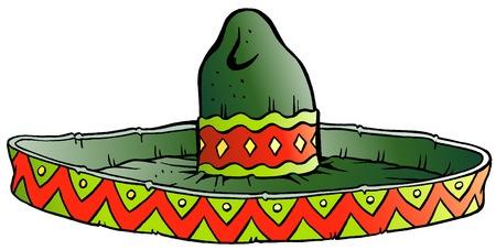 siesta: Vector Cartoon illustration of a Big Mexican Sombrero Hat