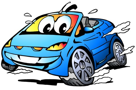 blue eyes: Vector Cartoon illustration of a blue Sports Car Mascot racing in full speed