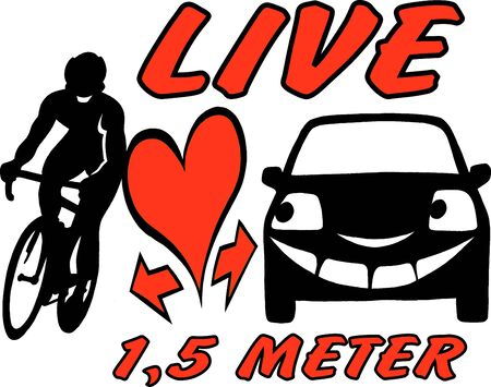 be aware: Vector Cartoon illustration of an biker and a car to be aware and considerate in the traffic