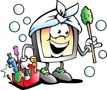 cartoon washing: Vector Cartoon illustration of a Happy Screen or Monitor Cleaner Mascot