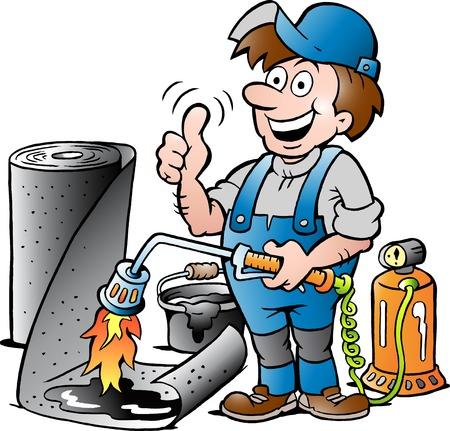 tar felt: Vector Cartoon illustration of a Happy Working Roofer giving Thumb Up