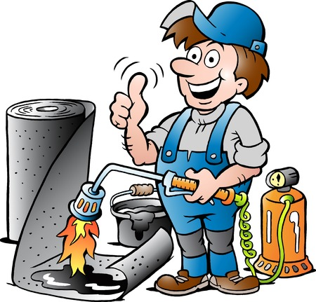 Vector Cartoon illustration of a Happy Working Roofer giving Thumb Up
