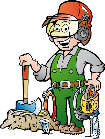 Vector Cartoon illustration of a Happy Working Lumberjack or Woodcutter Illustration