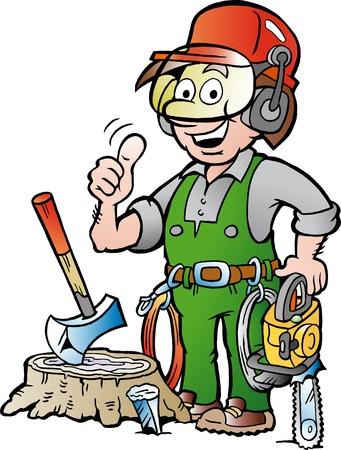 leñador: ilustración vectorial de dibujos animados de un leñador de Trabajo feliz o leñador que da el pulgar para arriba