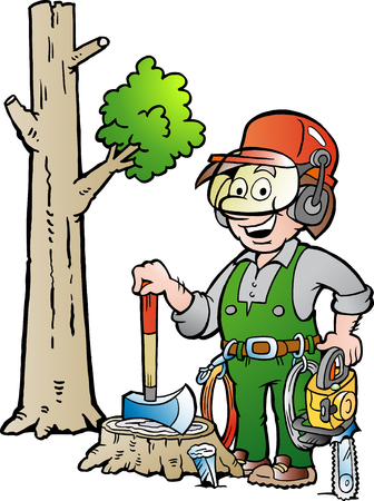 logger: Vector Cartoon illustration of a Happy Working Lumberjack or Woodcutter Illustration