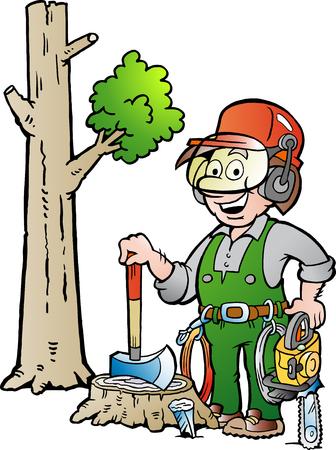Vector illustratie van het beeldverhaal van een gelukkig werken Lumberjack of Houthakker