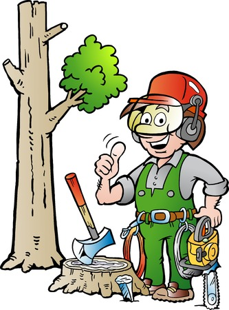 logger: Vector Cartoon illustration of a Happy Working Lumberjack or Woodcutter giving Thumb Up
