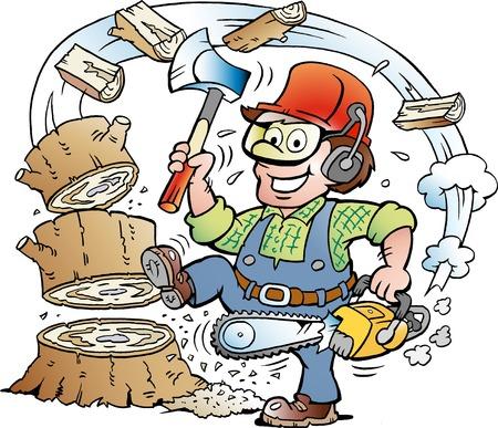 Vektor-Karikaturillustration eines glücklichen arbeitenden Holzfällers oder Holzfällers, die Holz hacken