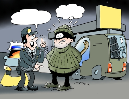 satirical: Cartoon illustration of an officer who speaks with a bandit
