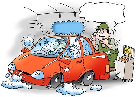 Ilustración de dibujos animados de una mecánica que pone a prueba el aparato de aire acondicionado en el coche, el mecánico se congela Foto de archivo