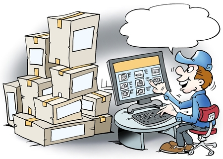 order: Cartoon illustration of a mechanic who order goods over the internet