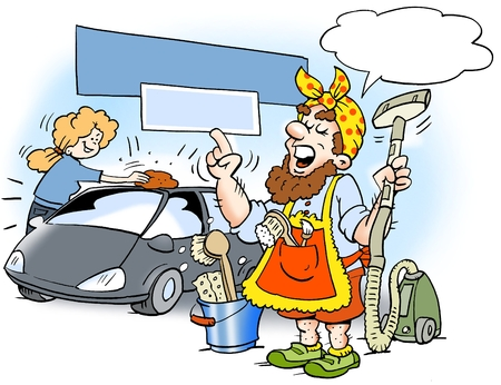 Cartoon illustration of a man who has dressed up as a cleaning woman, to be sure to get the job