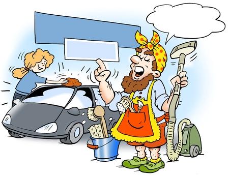 Ilustración de dibujos animados de un hombre que ha vestido como una mujer de la limpieza, para estar seguro de conseguir el trabajo