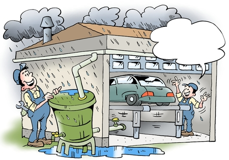 recycles: Cartoon illustration of a workshop that recycles water from the roof