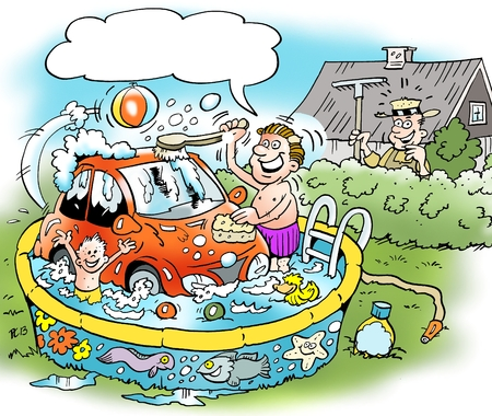 satirical: Cartoon illustration of a family man who washes his little car in the familys bathing pool Stock Photo