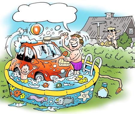 Ilustración de dibujos animados de un hombre de familia que lava su coche pequeño en la piscina familys baño