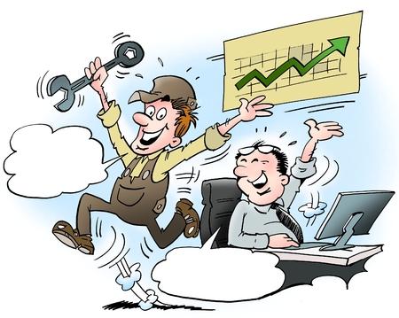 Ilustración de dibujos animados de un gerente y el empleado no están muy satisfechos con la alta rotación Foto de archivo