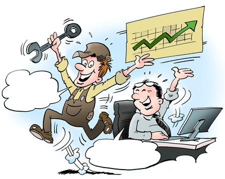 Cartoon illustration of a manager and employee there are very pleased with the high turnover