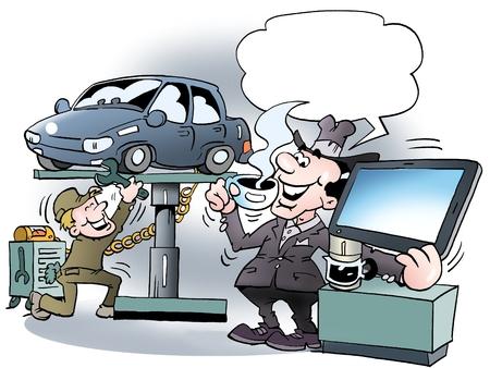 Ilustración de dibujos animados de un dueño del coche no es muy feliz para una taza de café de la mañana en el taller Foto de archivo