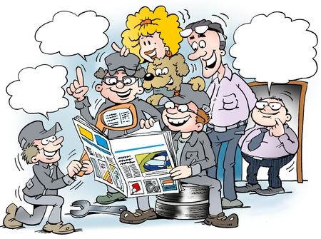 news van: Cartoon illustration of employees people there read interested in the magazine for auto industry