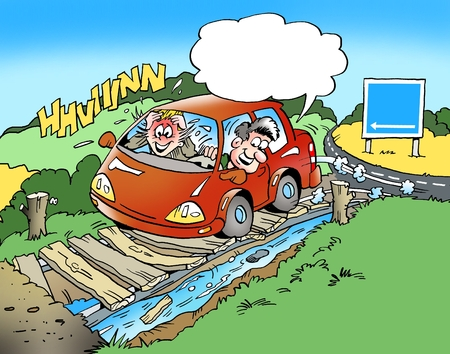 small car: Cartoon illustration of a family in a small car on a drive and have gone astray