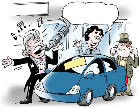 satirical: Cartoon illustration of a car salesman who sings into an auto exhaust