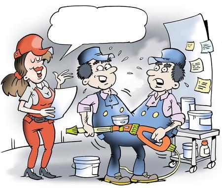 motoring: Cartoon illustration of two Siamese twins mechanic Stock Photo
