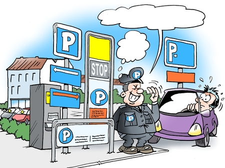 motorist: Cartoon illustration of a parking warden standing in front of a lot of P signs with many rules to be observed