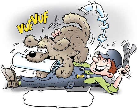 news van: Cartoon illustration of a mechanic who get the newspaper delivered by his dog Stock Photo