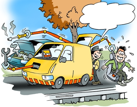 Ilustración de dibujos animados de una asistencia en carretera con un coche que tiene muchas instalaciones modernas Foto de archivo
