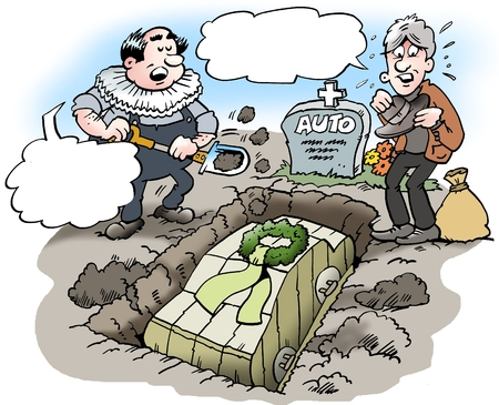 bury: Cartoon illustration of a car owner who buries his beloved old car