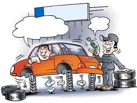 Cartoon illustration of a mechanic who just testing the shock absorbers on the car before the new tires mounted Foto de archivo