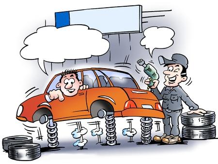 montañas caricatura: Ilustración de dibujos animados de un mecánico que acaba de probar los amortiguadores en el coche antes de que los nuevos neumáticos montados