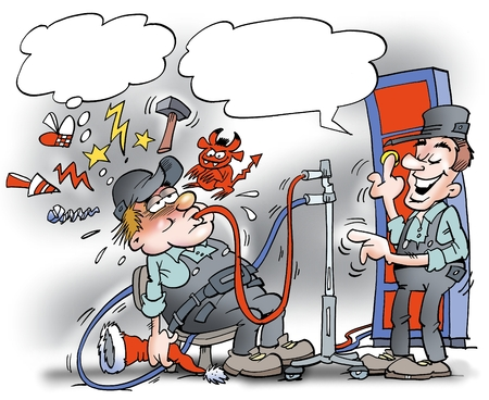 pumping: Cartoon illustration of a mechanic who has had too much alcohol to a Christmas party so he gets a pumping