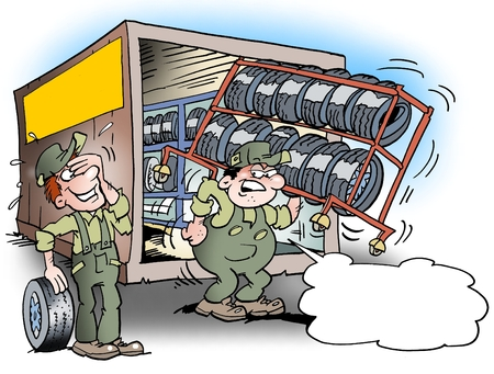 satirical: Cartoon illustration of a mechanic there is dragging around with a tool rack for tires