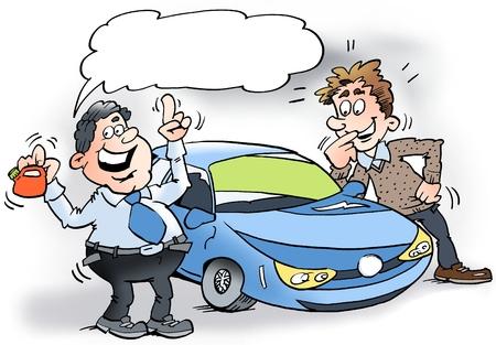 Ilustración de dibujos animados de un vendedor de coches que muestra un coche híbrido y un pequeño bidón de gasolina