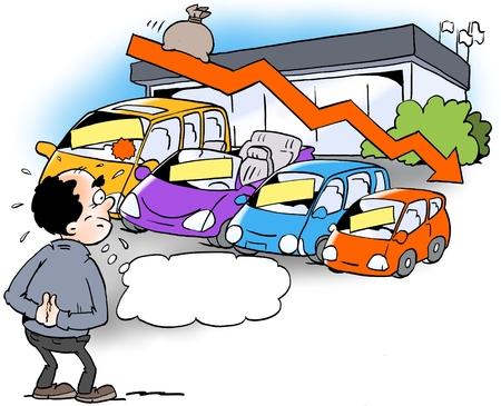 Ilustración de dibujos animados de un distribuidor que mira a una tendencia a la disminución de las ventas