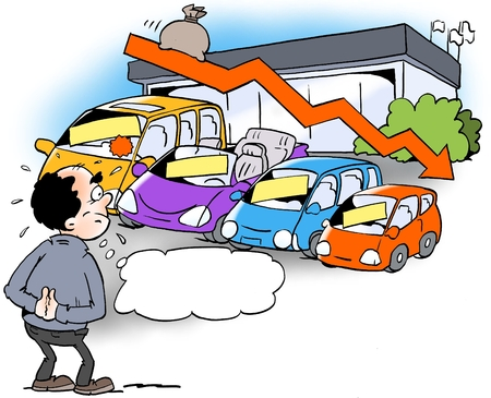 Cartoon illustration of a dealer who looks at a declining sales trend Stock Photo