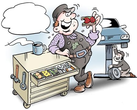 Ilustración de dibujos animados de un mecánico que tienen sándwiches para el almuerzo en el armario de herramientas