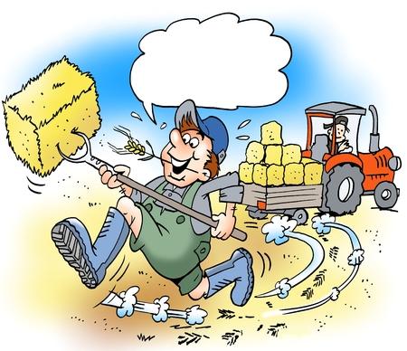 Ilustración de dibujos animados de un granjero feliz con grandes botas