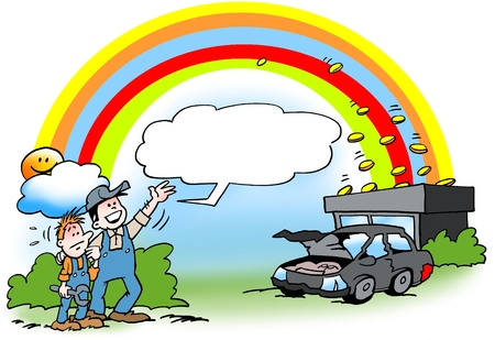 Cartoon illustration of an mechanic who earns gold at the end of the rainbow on used old cars Foto de archivo