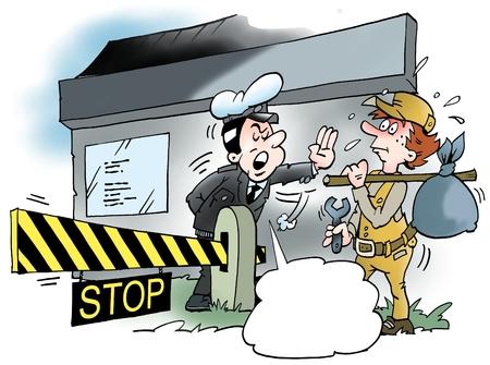 policia caricatura: Ilustración de dibujos animados de un mecánico en busca de un puesto de trabajo en la frontera a un nuevo país