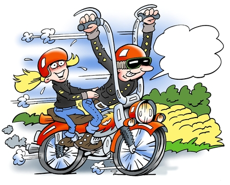 cartoon biker: Cartoon illustration of a happy biker running fast on a motorcycle with his girlfriend sitting behind him