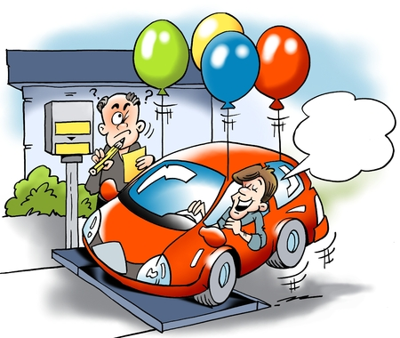 levy: Cartoon illustration of a car owner trying to cheat with the total weight of the vehicle road tax
