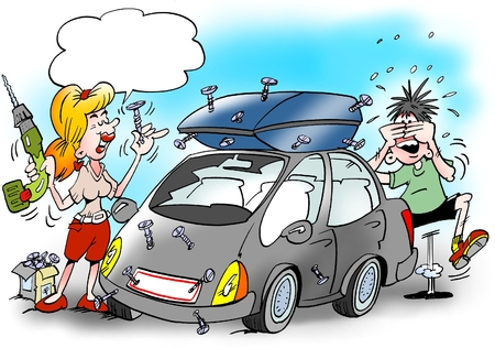 Cartoon illustration of a Woman there has fitted the new roof box with the screw tool she could just find in the workshop