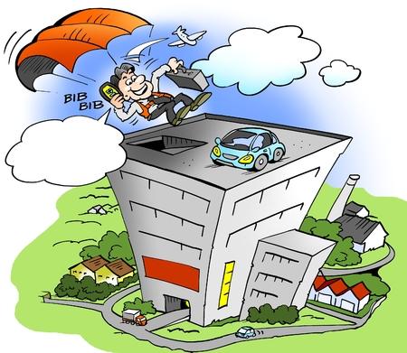 Ilustración de dibujos animados de un empresario recogiendo un coche de alquiler en una gran ciudad