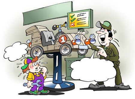 Cartoon illustration of a father gives the sons soy truck a service check Stock Photo