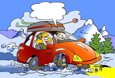 Cartoon illustration of a Family on ski trip with brand new skates mounted instead of wheels Foto de archivo
