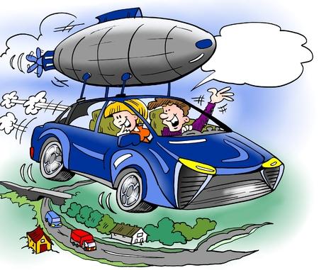 La ilustración de dibujos animados de una familia ha comprado equipamiento adicional para su nuevo automóvil híbrido