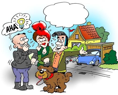 Ilustración de dibujos animados de una familia que está fuera y camina al perro, el vecino tendrá una buena idea Foto de archivo